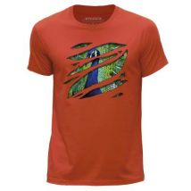 STUFF4 Hommes/X Grande (XL)/Orange/Col Rond T-Shirt/Grand Rip/Paon/Zoo Animal - T-Shirt