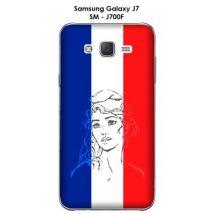 Coque Samsung Galaxy J7 - SM-J700F Marianne bleu, blanc rouge - Etui pour téléphone mobile