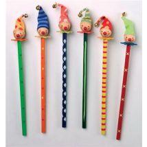 Lot de 6 crayons de couleurs clowns en bois - Autres jouets en bois