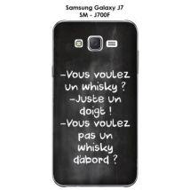 """Coque Samsung Galaxy J7 - SM-J700F Citation """"""""Vous voulez un whisky"""""""" écrite à la craie - Etui pour téléphone mobile"""