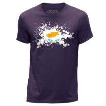 STUFF4 Hommes/Grand (L)/Violet/Col Rond T-Shirt/Chypre/Chypriote Drapeau Splat - T-Shirt