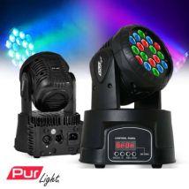 Jeu de lumière - Lyre à LED 3 couleurs RGB 18x3W + Etrier - Pur Light Ohio18LED - Lyres