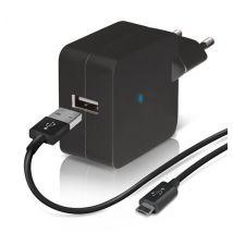 Chargeur secteur USB Temium + Câble Micro USB Noir - Chargeur pour téléphone mobile