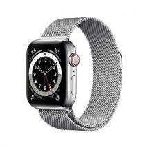 Apple Watch Series 6 GPS + Cellular, 40mm boitier acier inoxydable argent avec bracelet Milanais argent