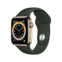 Apple Watch Series 6 GPS + Cellular, 40mm boitier acier inoxydable or avec bracelet sport vert de Chypre