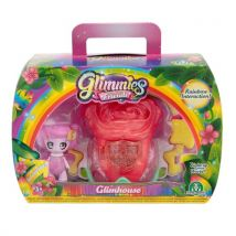 Figurine Glimmies Rose avec maison Glimhouse Rouge - Univers miniature
