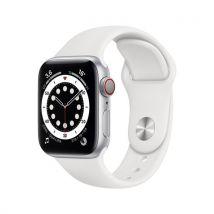 Apple Watch Series 6 GPS + Cellular, 40mm boitier aluminium argent avec bracelet sport blanc