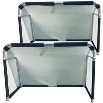 Hillman 6ft x 4ft Aluminium Folding Football Goals - 2 Pack