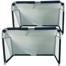 Hillman 5ft x 3ft Aluminium Folding Football Goal - 2 Pack