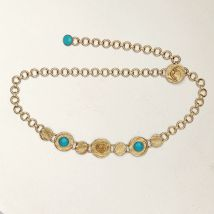 Chain belt with hammered medallions Gold - Maje - Women