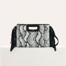 M Duo clutch in python leather Black - Maje - Women