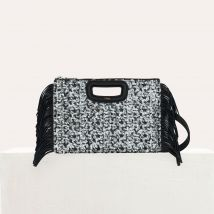 M Duo clutch in sequined leather Black - Maje - Women