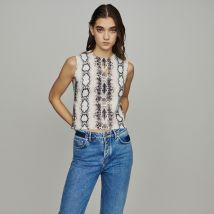 Sleeveless sweater in python print Printed - Maje - Women