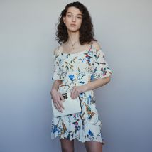 Short printed dress with bare shoulders Print - Maje - Women