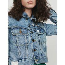 Cropped jacket in denim with pins Denim - Maje - Women