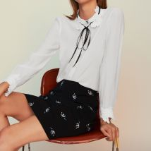 Trapeze Skirt With Novelty Embroidery - T40 - - Maje