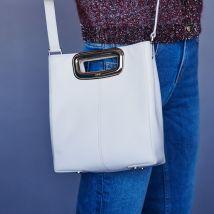 Suede and goldtone metal M Skin bag White - Maje - Women