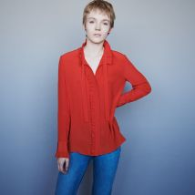 Silk Ruffled Pussy-bow Shirt - T3 - Red - Maje