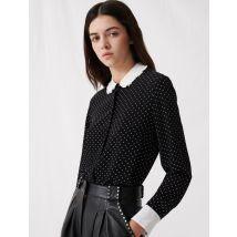 Polka Dot Shirt With Contrasting Collar - T4 - Black - Maje