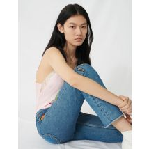 Straight Jeans With Embroidered Patches - T36 - Blue - Maje