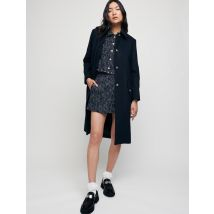 Long, Belted Wool Broadcloth Coat - T36 - Navy - Maje