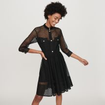 Guipure skater dress - T3 - Black - Maje