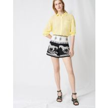 Jacquard Shorts With Horse Embroidery - T38 - Black - Maje