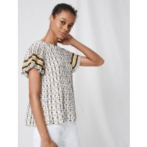 Pleated Tunic With Preppy Print - T4 - White - Maje