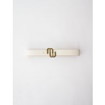 Croc-effect Leather Double M Belt - T10 - Off White - Maje