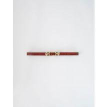 Embossed Leather And Lion Horsebit Belt - T10 - Cognac - Maje
