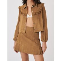 Suede Jacket With Ruffles - T8 - Camel - Maje