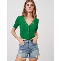 Fine V-neck Jumper With Small Buttons - T10 - Green - Maje