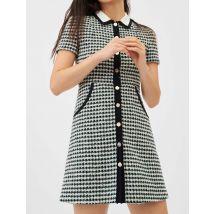 Contrast Tweed Dress - T8 - Ecru / Green - Maje