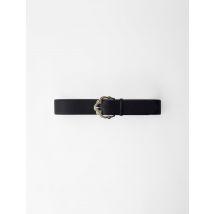Lizard-effect Embossed Leather Belt - T8 - Black - Maje
