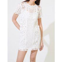 Macramé-style Straight-cut Dress - T8 - White - Maje