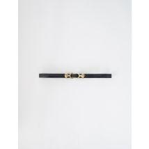 Embossed Leather And Lion Horsebit Belt - T10 - Black - Maje