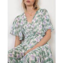 Printed Muslin Scarf Dress - T12 - White/green/purple - Maje