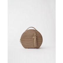 Croc-effect Embossed Round Leather Bag - TU - Mole - Maje