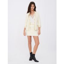 Tweed-effect Cardigan With Chains - T14 - Off White - Maje