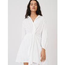 Cotton Shirt Dress, Tied At The Waist - T10 - White - Maje