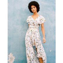 Asymmetrical Printed Satin Dress - T8 - White Jungle - Maje