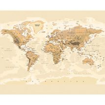 ohpopsi Sepia World Map Wall Mural - L 3m (W) x 2.4m (H)