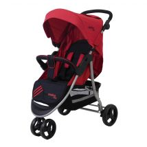 Poussette citadine Baby Fox trois roues collection 'Running Stripe' - Rouge