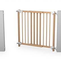 Barrière de sécurité porte Baby Fox murale à portillon amovible réglable bois vernis 73 x 110 cm