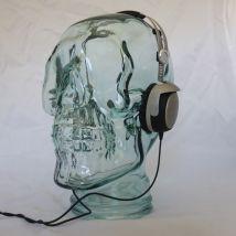 AMP3 Luxury Glass Skull Headphones Stand Colour: BLACK