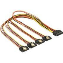 Kabel SATA 15Pin Stecker > 4x SATA 15Pin Buchse