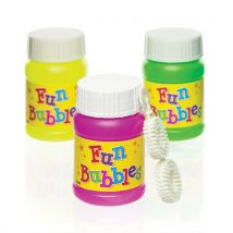 Mini Blow Bubbles - 8 tubs of kids party blow bubbles. 30ml per tub with blower tool included.
