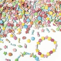 Seaside Beads - 400 Sea Life Beads in assorted designs. Includes shells, starfish and seahorse. Size 10mm.