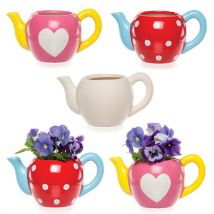 Teapot Ceramic Planters - 2 Ceramic Mini Pots to Decorate. 9cm x 16cm.