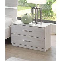Chevet 2 tiroirs Anna chambre à coucher chene blanc - Basika